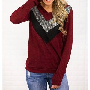 12 PM by Mon Ami burgundy sweater sequins chevron